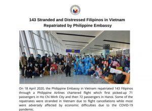 Đại sứ quán Philippines tại Việt Nam giúp 143 người Philippines hồi hương