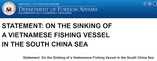 Bộ ngoại giao Philippines tuyên bố ủng hộ Việt Nam vụ tàu cá Việt Nam bị Trung Quốc đâm chìm